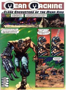 Mean Machine Comic Cover by Junior Tomlin for 2000AD Comics