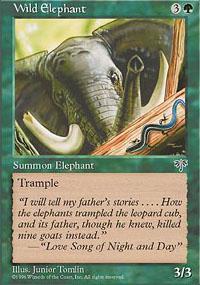 Wild Elephant Trading card by Junior Tomlin